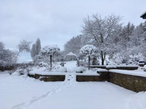 Snowy Great Campston & The Billiard Room Gardens